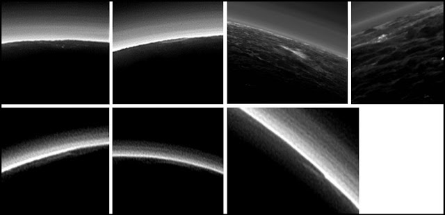 Pluto's present, hazy atmosphere is almost entirely free of clouds, though scientists from NASA's New Horizons mission have identified some cloud candidates after examining images taken during July 2015. Photo Credit: NASA / JHUAPL / SwRI