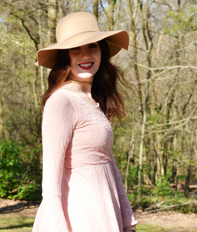 bell sleeved blush lace dress by crazy about coral