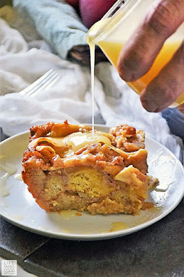 Apple Pie Bread Pudding with Maple Cream Sauce