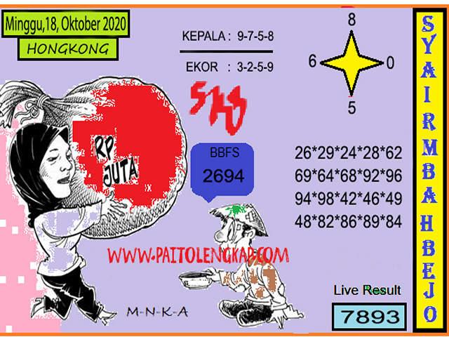Kode syair Hongkong Minggu 18 Oktober 2020 189