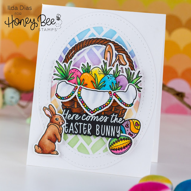 Easter Basket Goodies Card,Honey Bee Stamps,Hoppy Easter,Atelier Inks,Ink Blending,Rainbow,Card Making, Stamping, Die Cutting, handmade card, ilovedoingallthingscrafty, Stamps, how to,