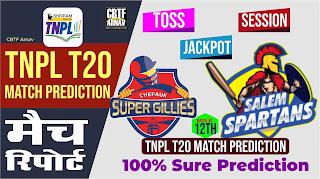 TNPL T20 12th Match Spartans vs Chepauk Who will win Today 100% Match Prediction