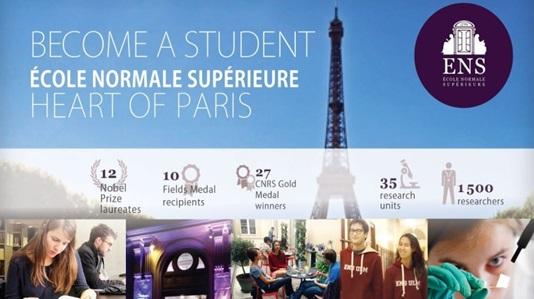 للشباب العربي منحة المدرسة العليا للأساتذة في باريس لدراسة الماجستير الموعد النهائي: 29 نوفمبر أو  15 ديسمبر 2019 (سنوي)