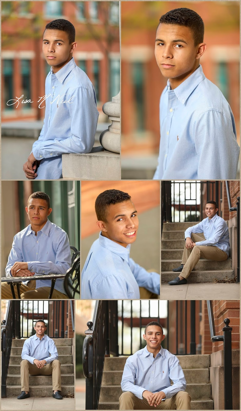 collage of young man in various poses urban setting