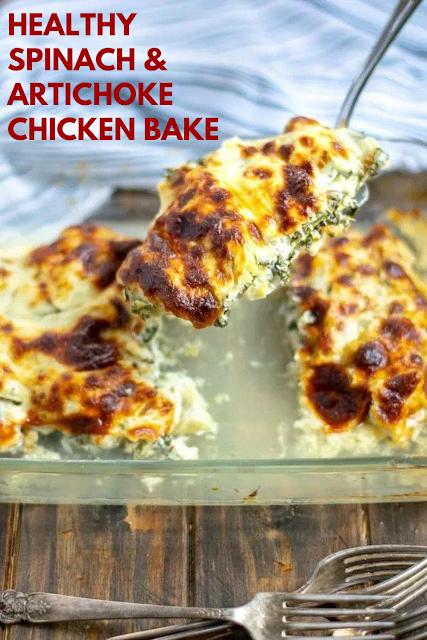 Healthy Spinach & Artichoke Chicken Bake