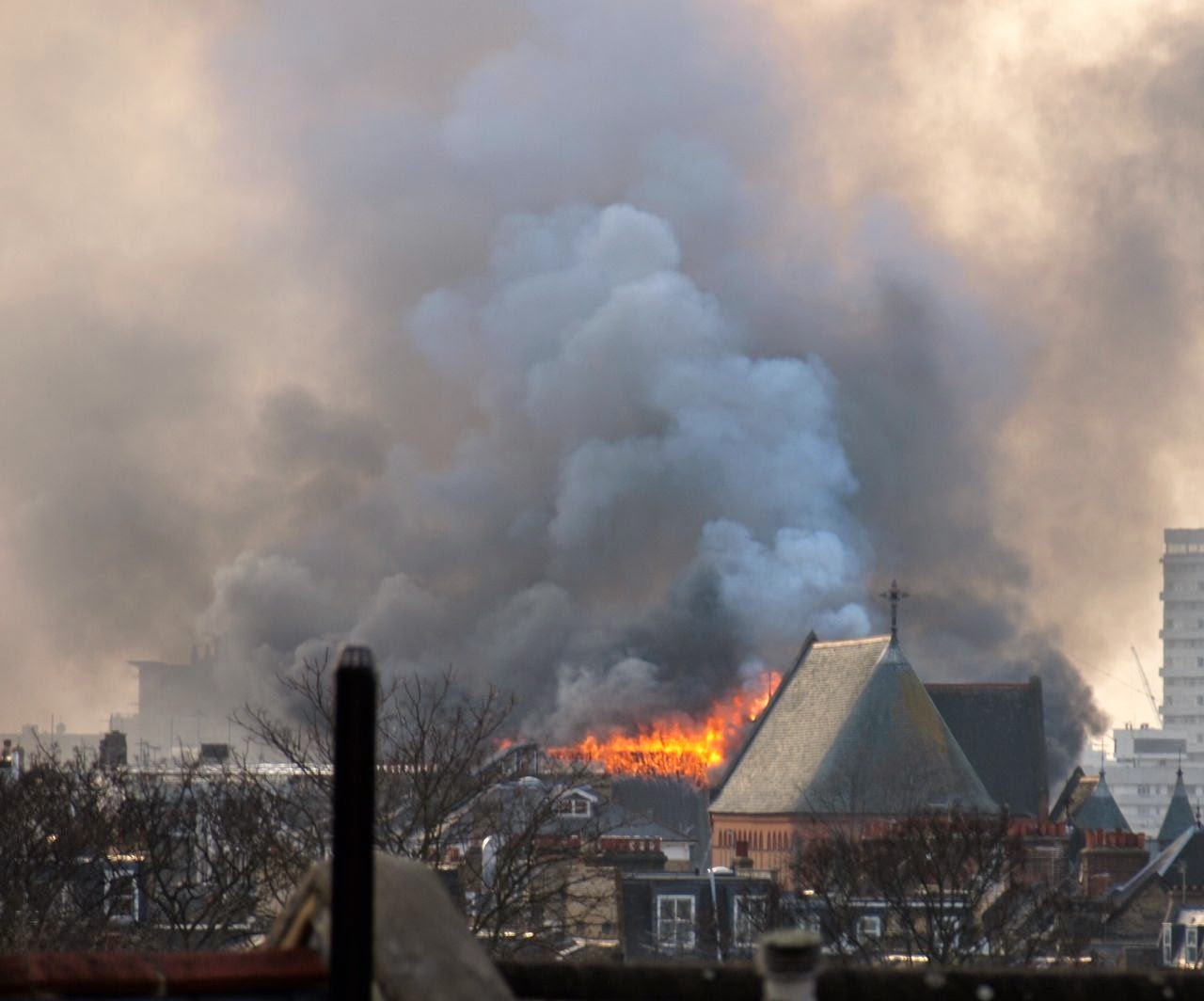 Fire rips through the roof of Battersea Arts Centre's great hall, Friday 13th 2015