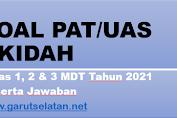 Soal PAT AKIDAH Kelas I, II, dan III MDT Tahun 2021 Beserta Jawaban