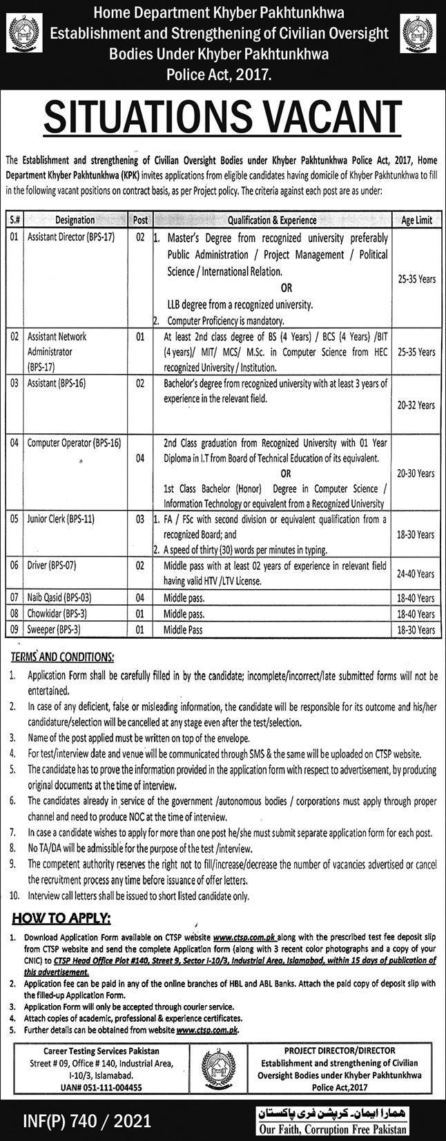 Home Department Jobs 2021 in Peshawar KPK via CTSP