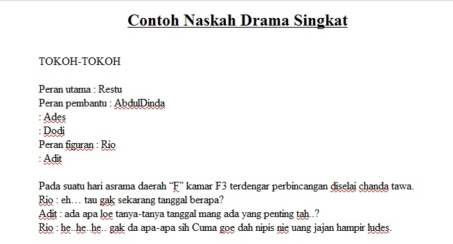 Contoh Naskah Drama Singkat Terbaru 2017 Kumpulan Contoh Naskah Drama