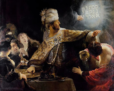 Rembrant's painting of Balthazar's Feast: mysterious writing on the wall