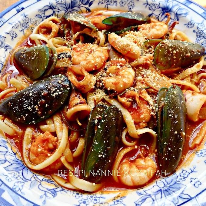 Resepi Pasta Seafood (Marinara)