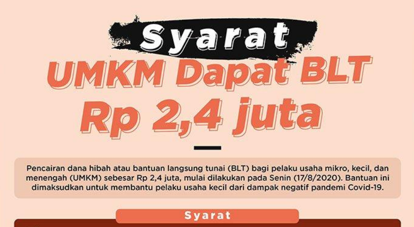Syarat Kriteria Dan Cara Daftar Untuk Mendapatkan Blt Umkm Rp2 4 Juta Tahun 2020 Aceh Viral