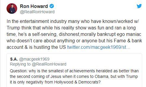 Ron Howard,pummels,Donald Trump,calls,self-serving,bankrupt