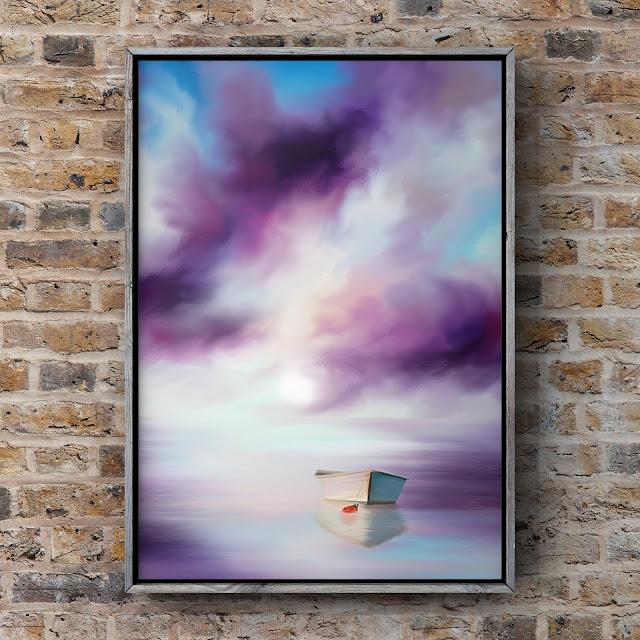 Adrift on Purple waters, art by Mark Taylor, Landscape art, seascape art, Beechhouse Media,