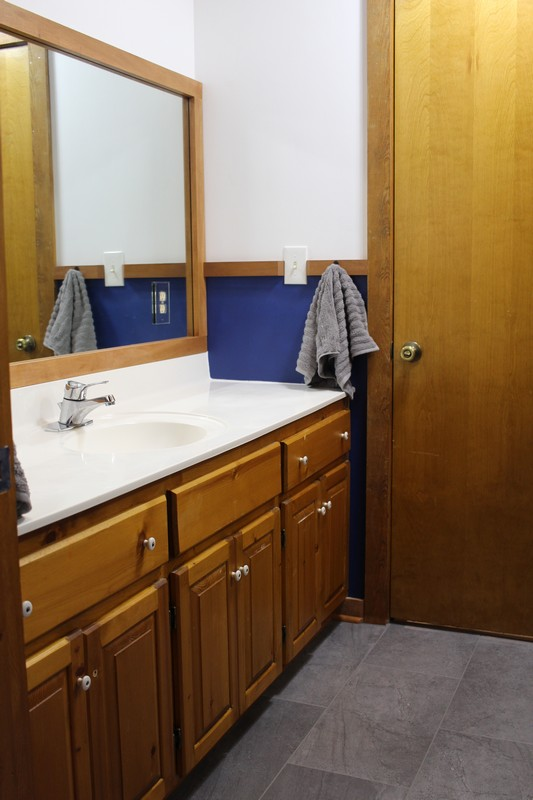 Jack and Jill Bathroom with White And Navy Walls and wood cabinet