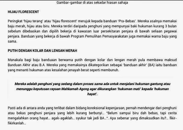 Artikel Plagiat Maksud Warna Baju Banduan Di Malaysia