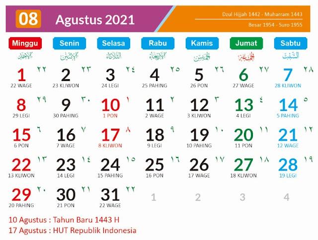 Kalender 2021 Masehi Agustus