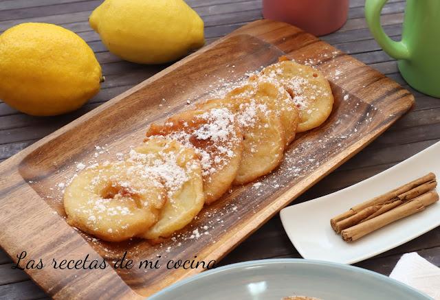 Buñuelos de manzana al ron