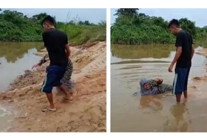 Seorang Anak Seret dan Ceburkan Ibunya ke Sungai Karena Tidak Dibelikan Sepeda Motor.