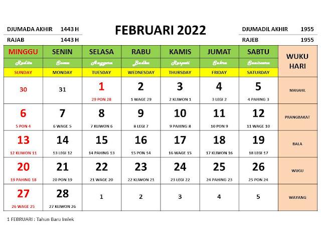 Kalender Bulan Februari 2022 dan Hari Peringatannya
