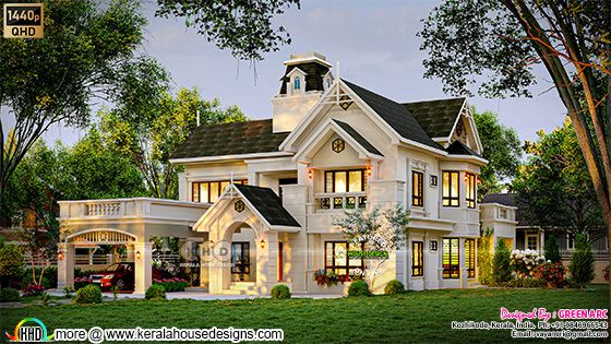 Long view of the classic European style house