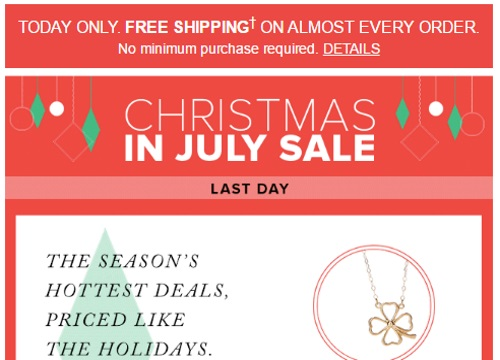 Hudson's Bay Free Shipping Christmas in July Sale