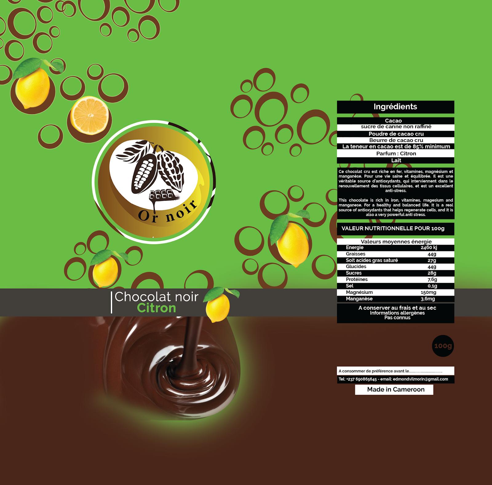Chocolat noir Citron - Or noir