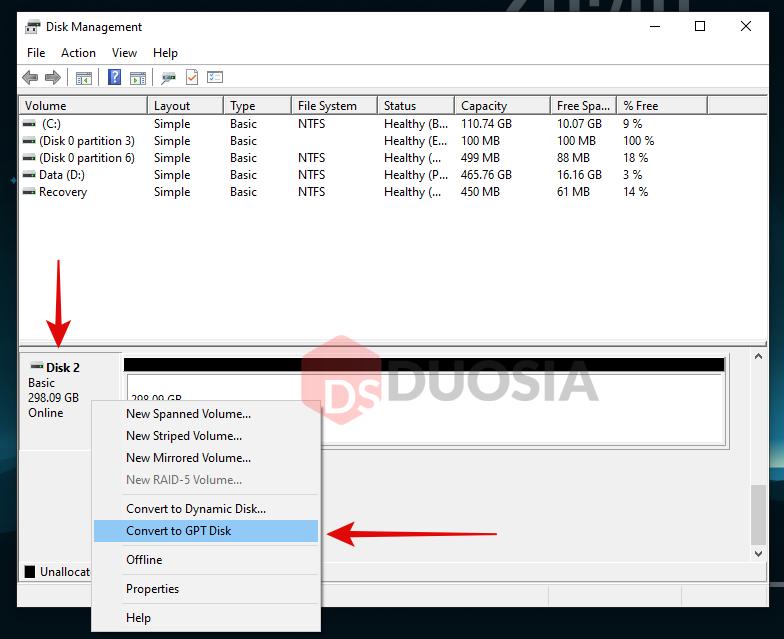 cara mengubah mbr ke gpt disk management