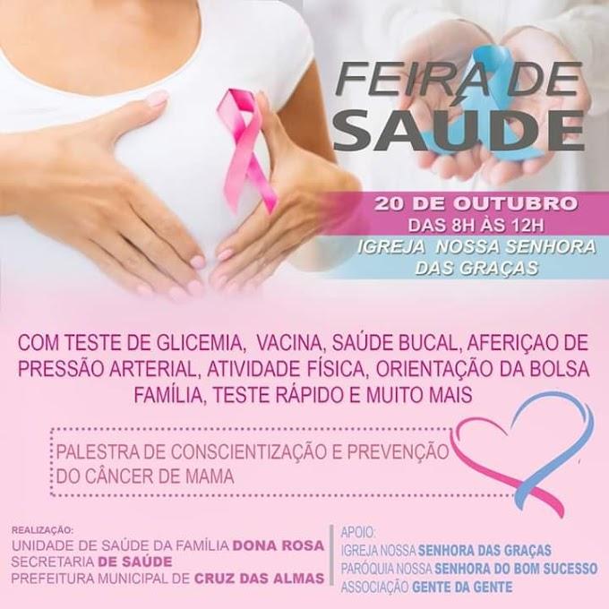 Prefeitura de Cruz das Almas realizará Feira de Saúde no bairro Dona Rosa