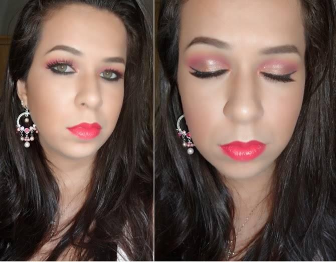 Tutorial Maquiagem Rosa com brilho