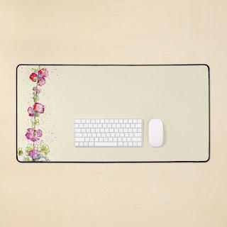 Pink Hollyhocks floral deskmat