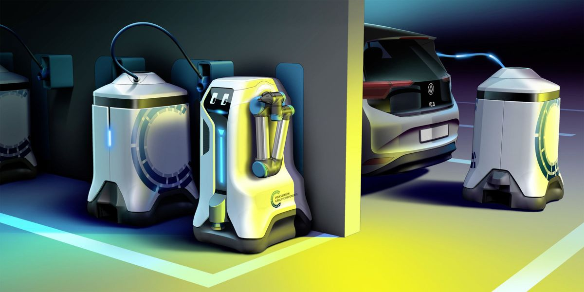 Volkswagen تعرض لنا روبوت متنقل مصمم لشحن السيارات الكهربائية