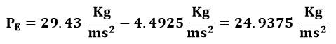 Cálculo de la presión en el punto E del ejemplo 2
