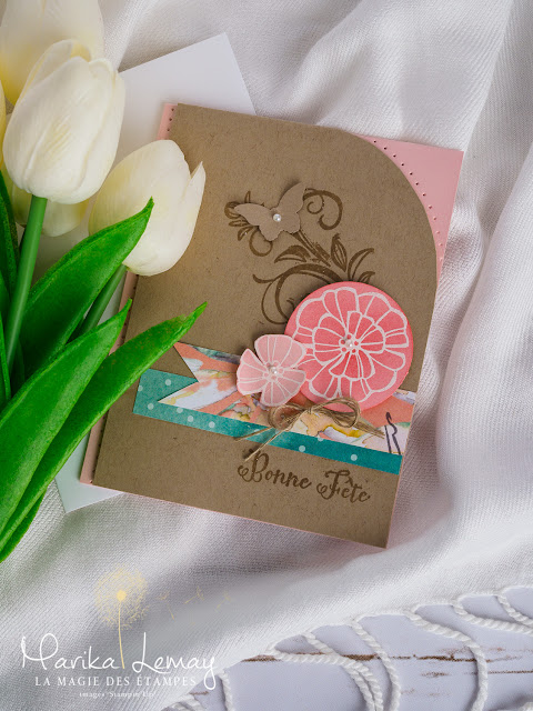 Carte avec le jeu Falling flowers Stampin, Up!