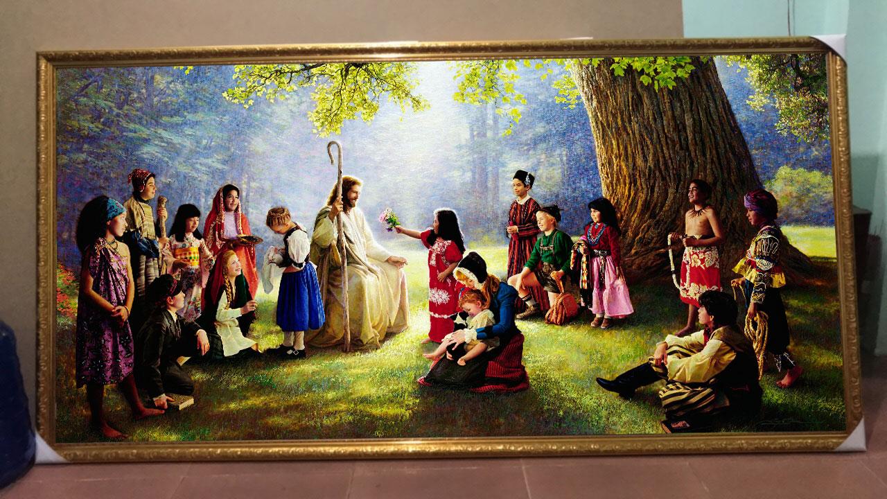 Tranh Treo Tường Công giáo Chúa Giê Su Và Dân Làng