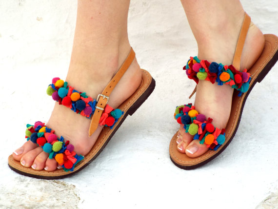 Colorful flat Pom Pom sandals by Delos Art