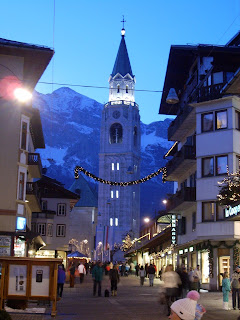 Evening in Cortina d'Ampezzo looking towards the Campanile Filippo e Giacomo,