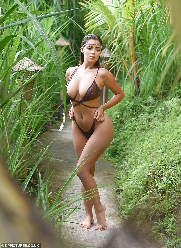 Demi Rose slipped into a skimpy bikini to take part in a photoshoot in Bali