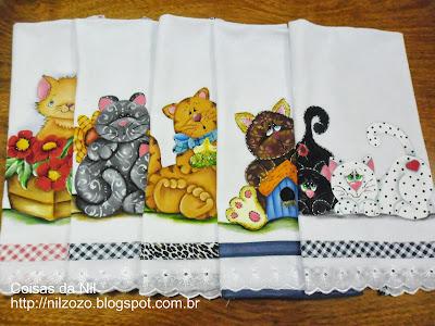 semaninha de panos de prato com pintura de gatos