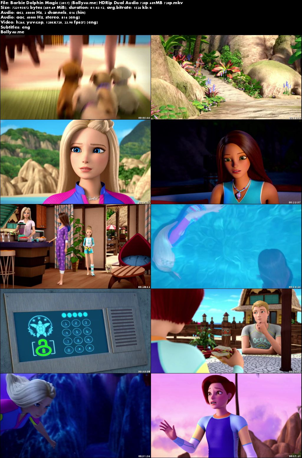 Barbie Dolphin Magic 2017 HDRip 700MB Hindi Dual Audio 720p Download