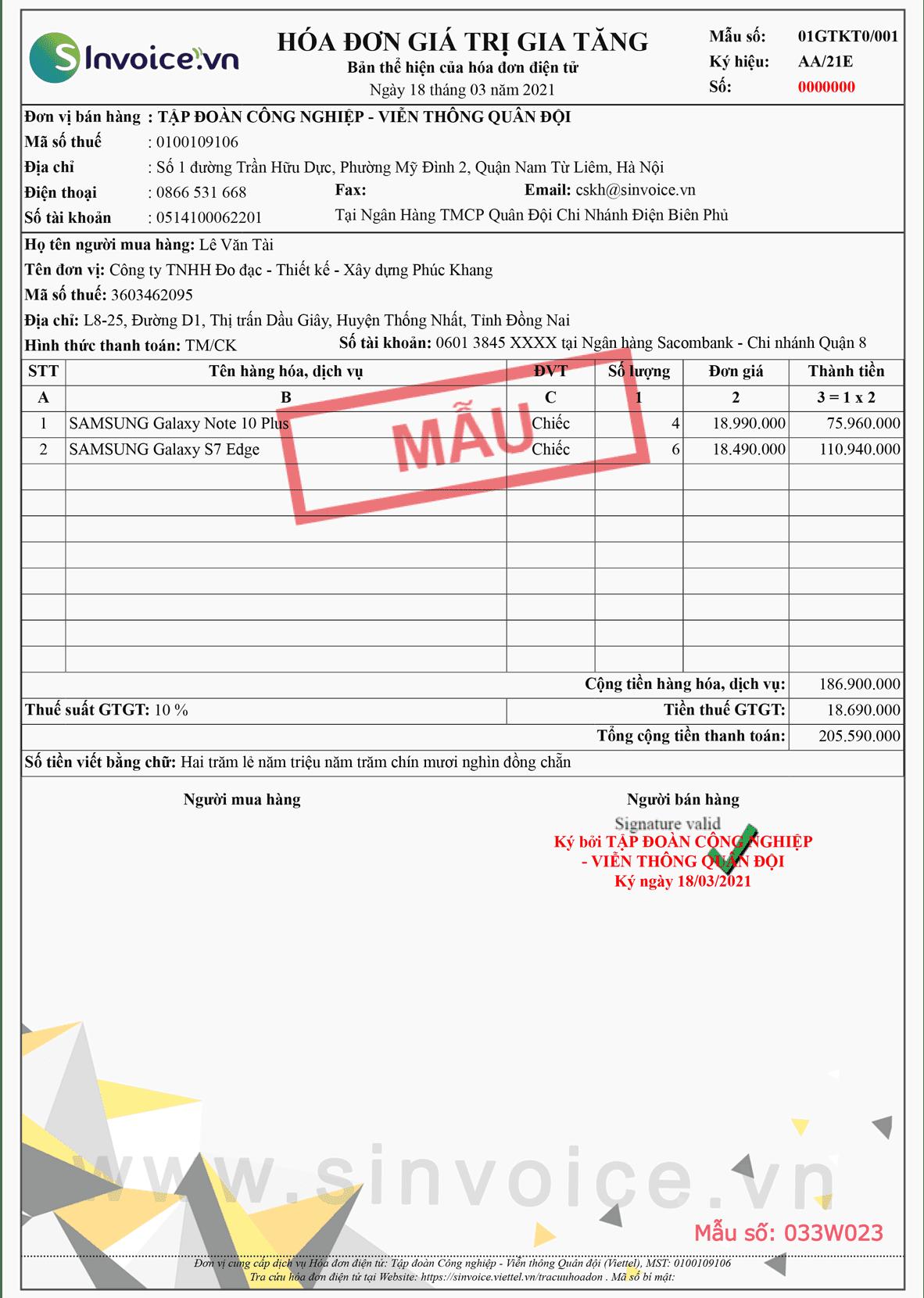 Mẫu hóa đơn điện tử số 033W023
