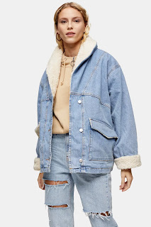 Light Wash Denim Oversized Car Coat