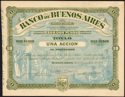 Banco de Buenos Aires share with large underprint scene