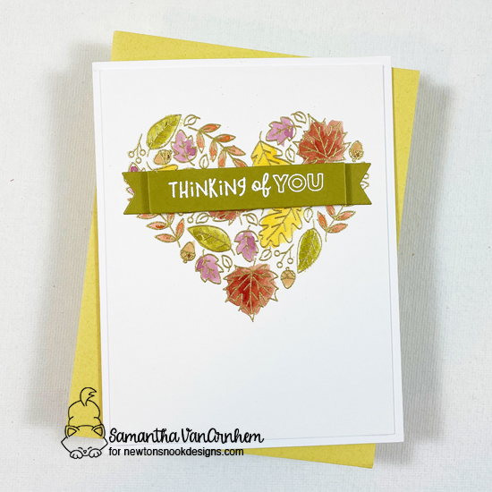 Thinking of You Fall Card by Samantha VanArnhem | Heartfelt Fall Stamp Set and Banner Trio Die Set by Newton's Nook Designs #newtonsnook