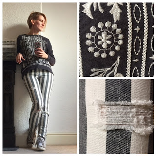 Zara embroidered jumper and stripy jeans