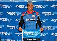 Stewart Friesen, driver of the No. 52 Halmar International Chevrolet won pole.