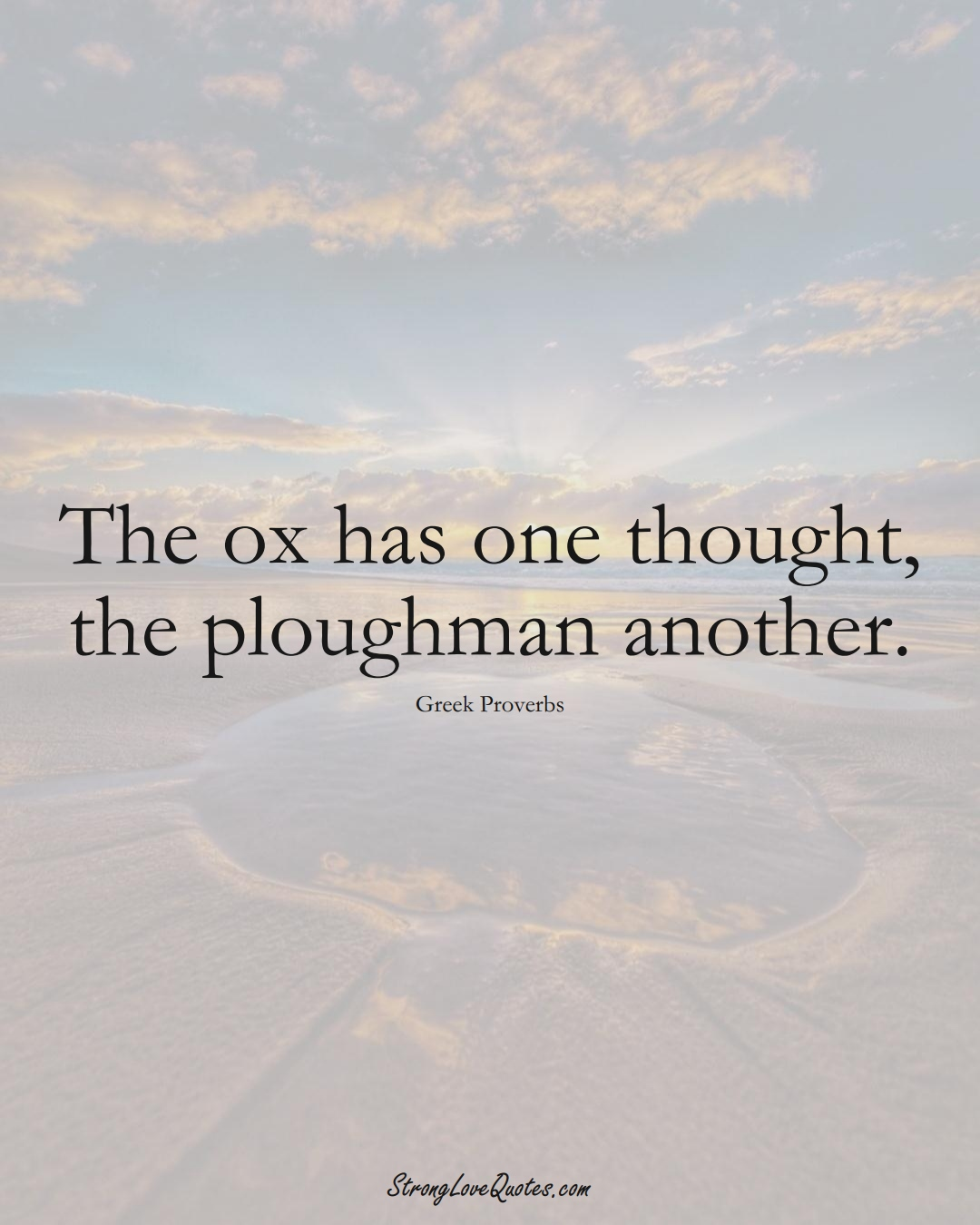 The ox has one thought, the ploughman another. (Greek Sayings);  #EuropeanSayings