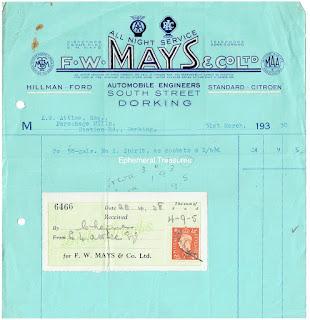 F W Mays - Dorking invoice 1938