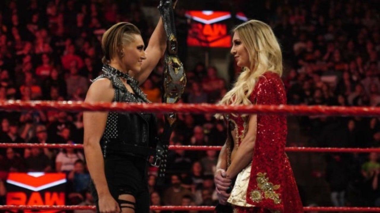 Rhea Ripley and Charlotte Flair on WWE RAW