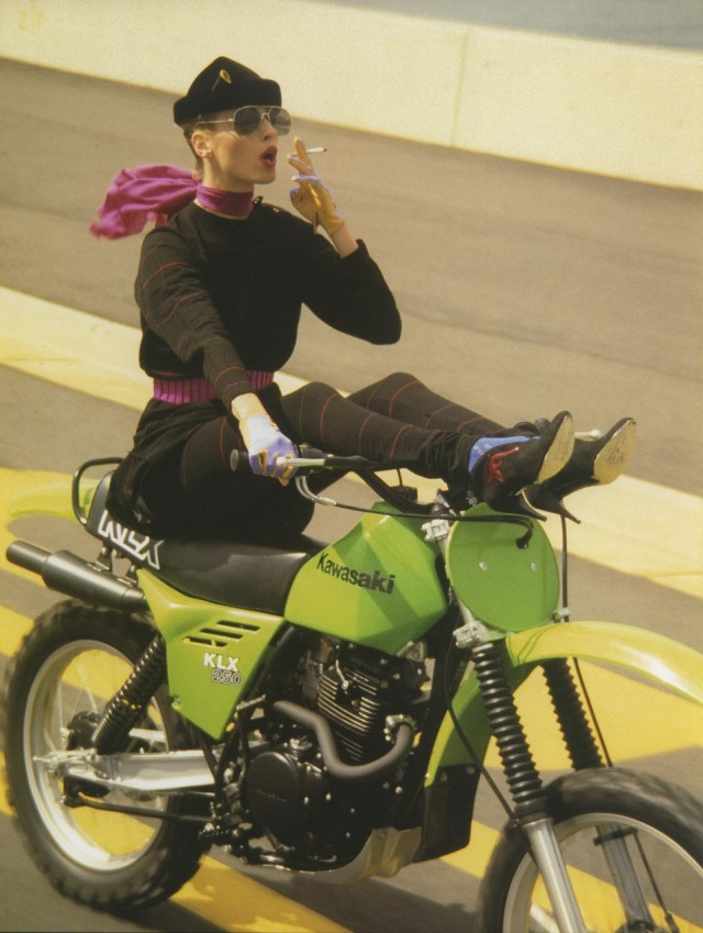 1980 Kawasaki KLX 250 Fashion Shoot by Norman Parkinson